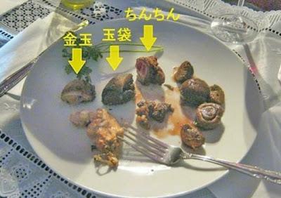 pene y testiculos cocinados y servidos en banquete