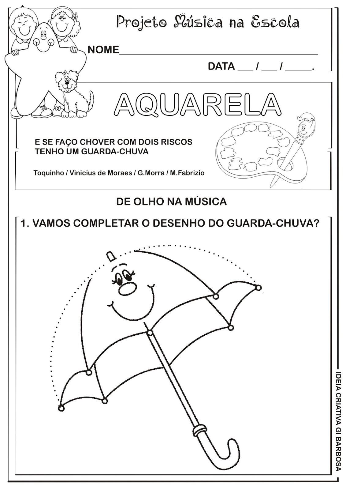 Conhecido Atividade Projeto Música na Escola Aquarela | Ideia Criativa - Gi  VN73