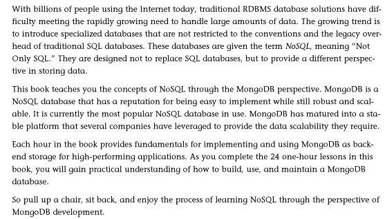 MongoDB/NoSQL book introduction