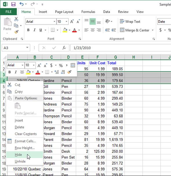 Cách tạm thời ẩn hàng, cột trong Excel 2013 2