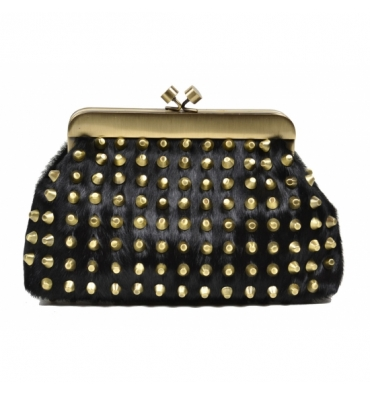 House of Harlow 1960 Tilly Clutch in Black Calf Hair with Gold Tone Studs