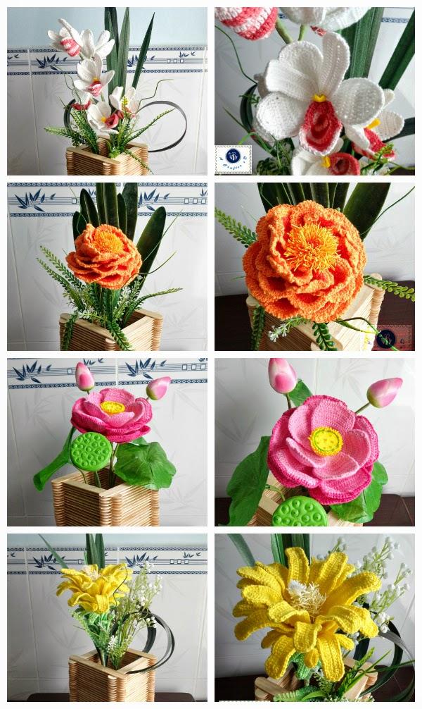 yarn art, crochet orchid, crochet lotus, crochet peony, crochet cactus flower
