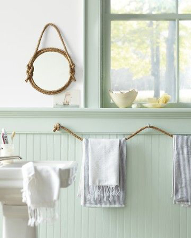 rope mirror and towel holder