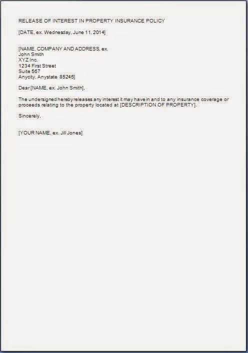release interest on property letter