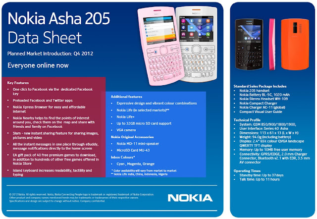Data Sheet - Nokia Asha 205