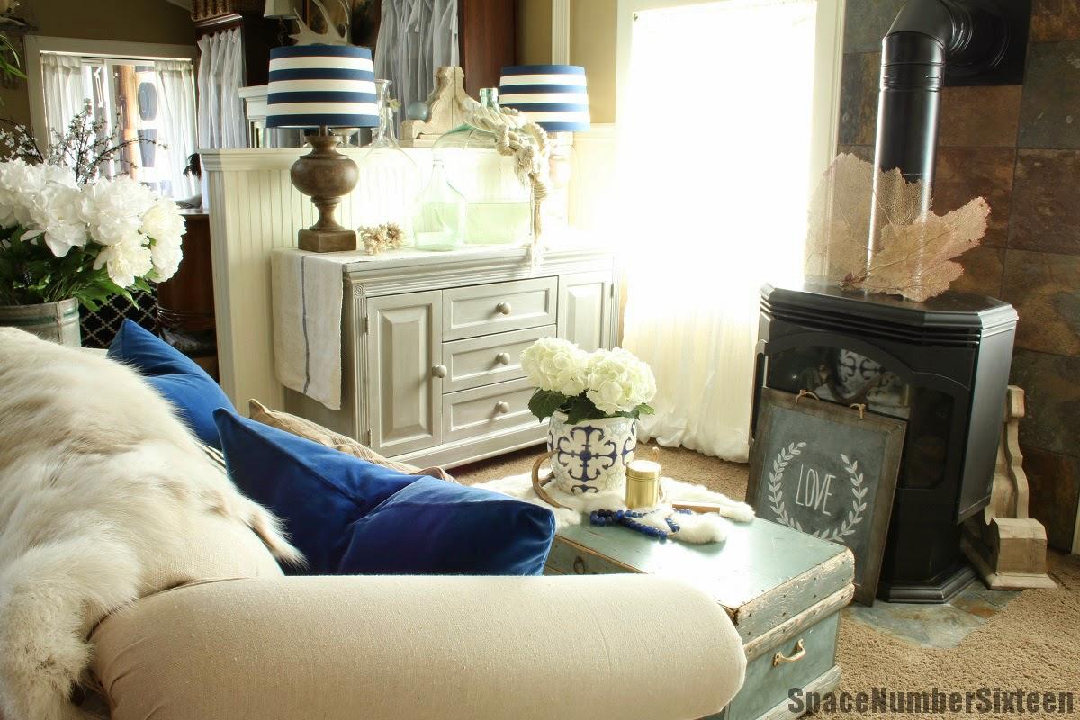 blue velvet pillows, drop cloth settee