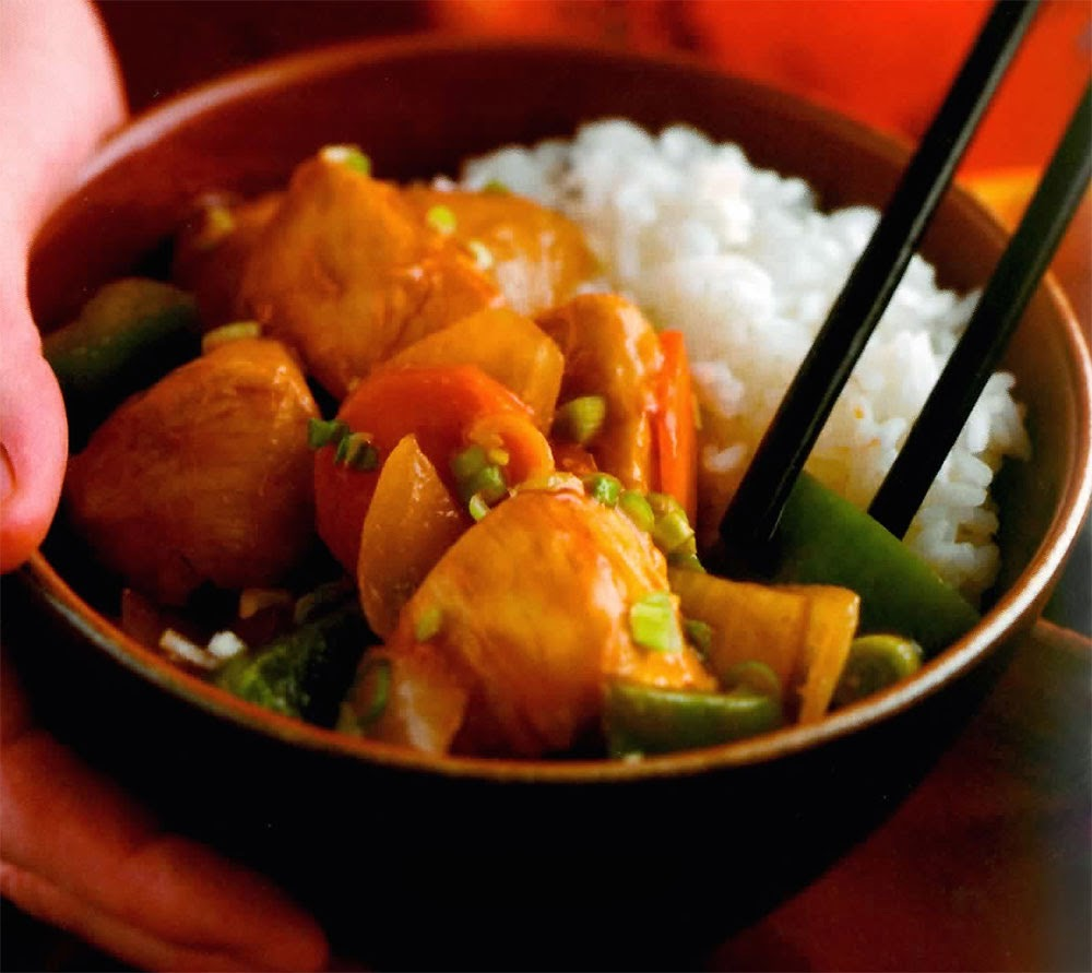 Sweet and Sour Chicken: Classic simple to make stir-fry of chicken and vegetables in a light sweet and sour sauce. This makes a great, tasty and easy to prepare family supper dish.