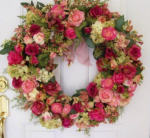 guirlanda de rosas e flores naturais