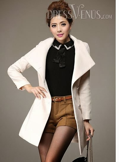 Stunning Korean Slim Long Sleeves Woolen Long Ouvercoat