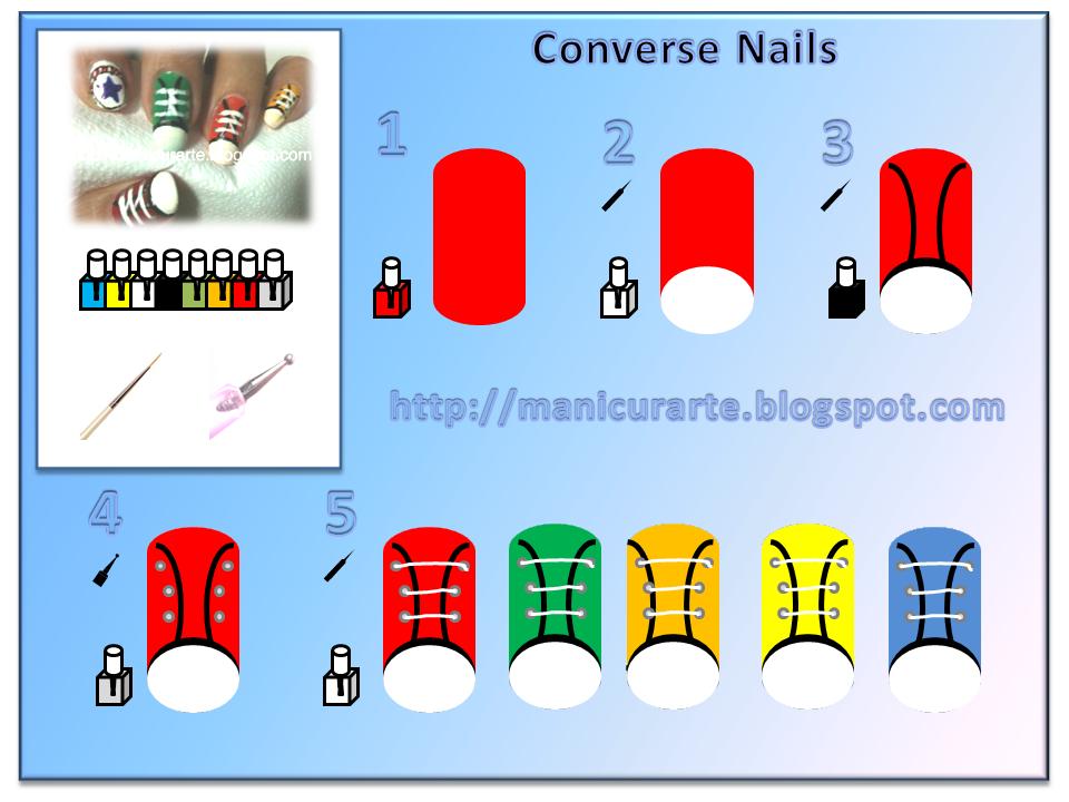 Manicurarte manicura converse tutorial diy converse nails for Decoracion de unas converse