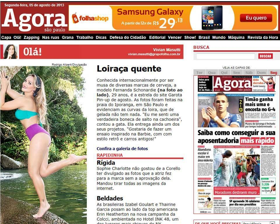 Fernanda Schonardie: Jornal Agora São Paulo - Fernanda Schonardie