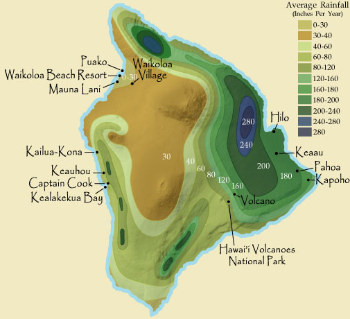 Big Island Hawaii Rainfall Map