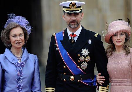 Кралица София, принц Фелипе и принцеса Летисия на сватбата на Уилям и Кейт