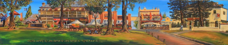 plein air oil painting of shops in George st from Thompson Square Windsor by artist Jane Bennett