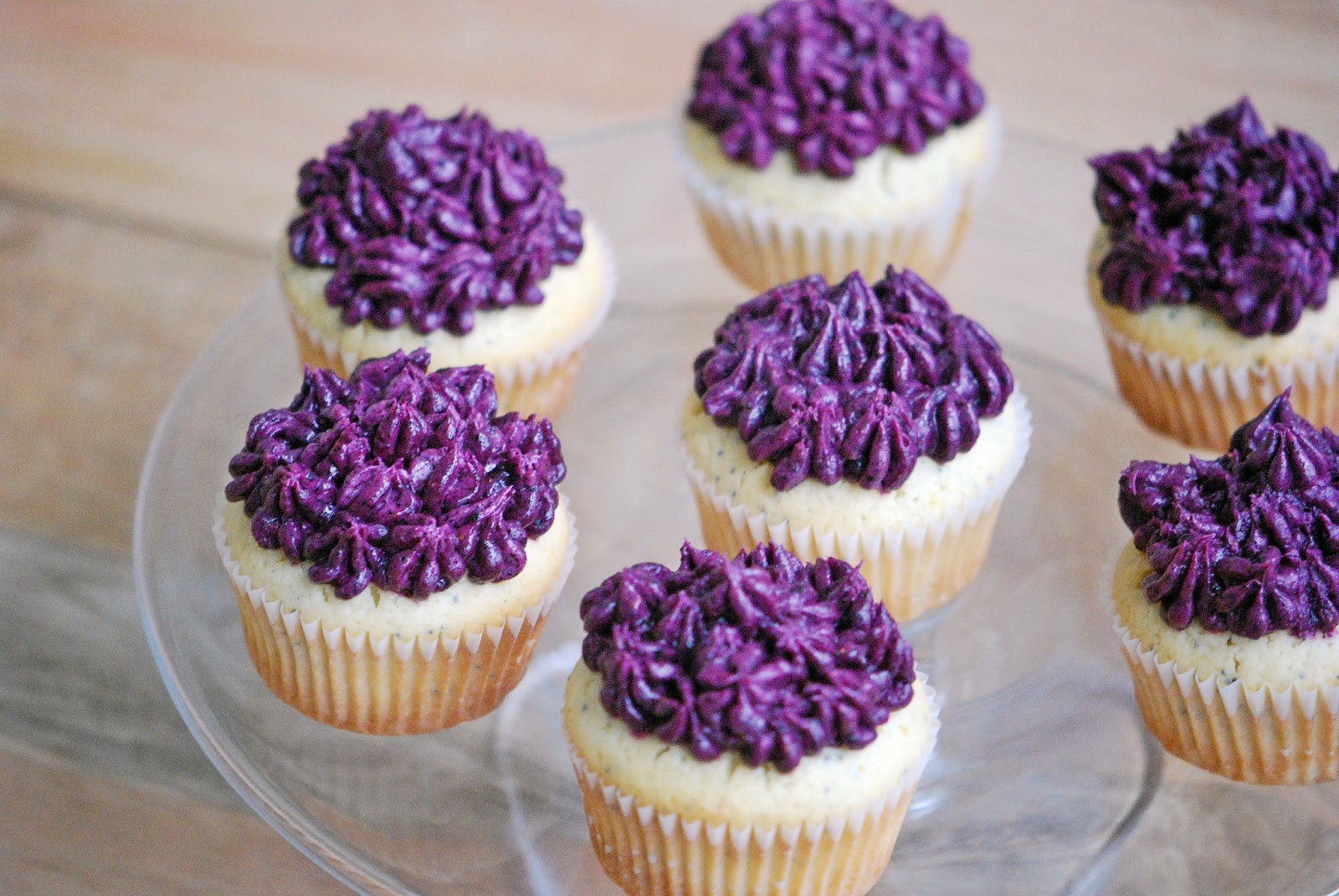 Mehan's Kitchen: Lemon Poppy Seed Cupcakes with Blueberry Frosting
