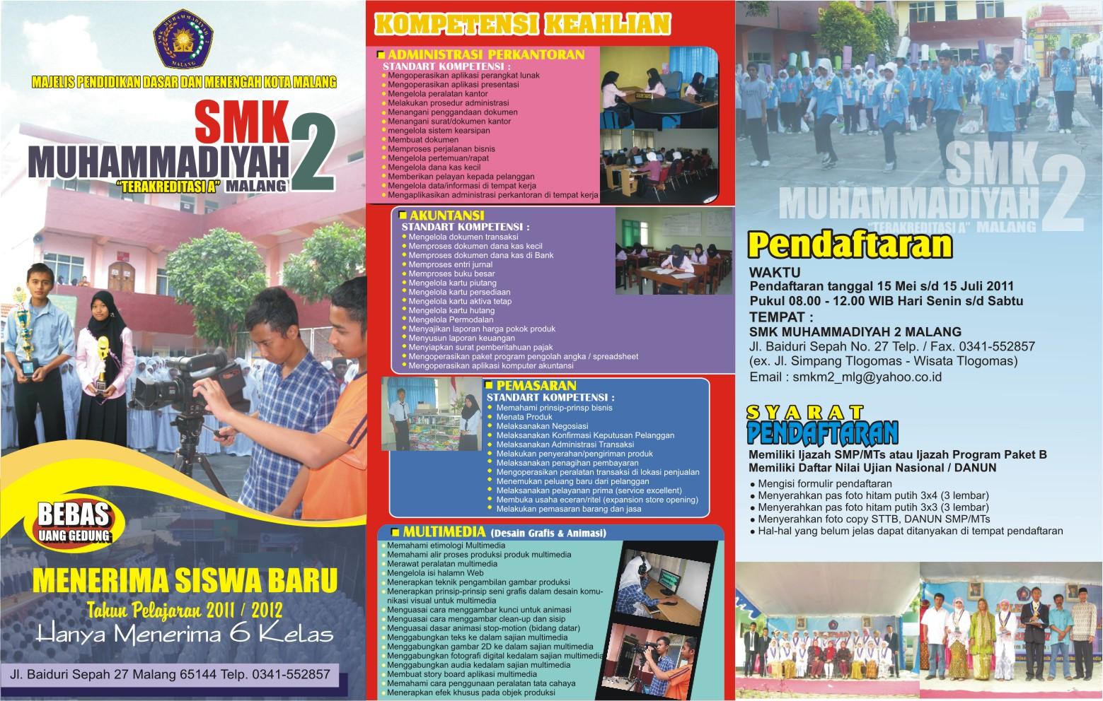 HASIL DESAIN BROSUR SMK MUHAMMADIYAH 2 MALANG Tahun 2011