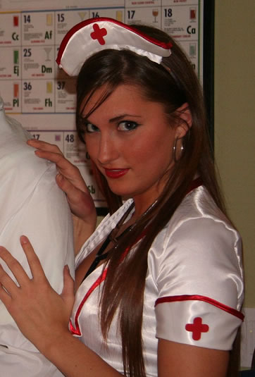"Quote: ""She wore a naughty nurse's uniform paired with leopard-print tights, ..."