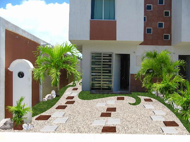 diseño jardín minimalista para fachada México