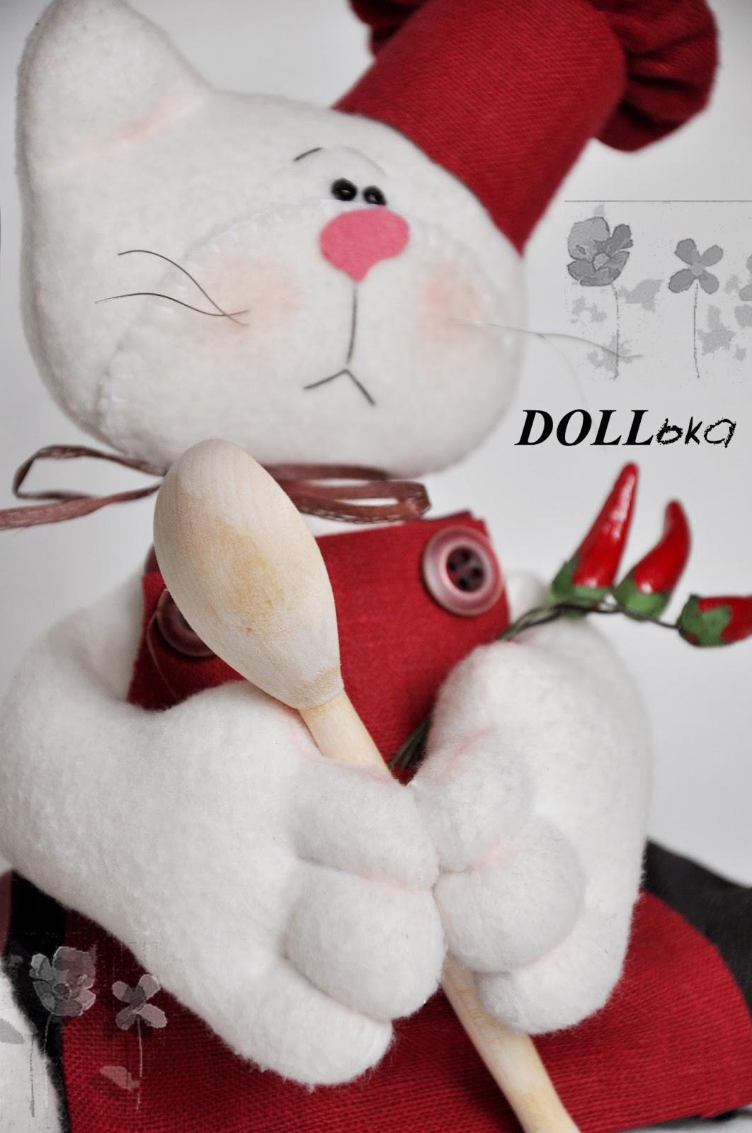 Кот-повар текстильная игрушка ручной работы