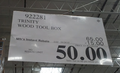 Deal for the Trinity Wood Tool Chest at Costco including rebate