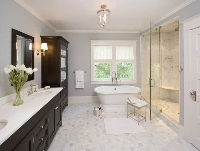 grey and chocolate brown bathroombeauty bathroom with awesome white color flower and brown color cabinet the room very comfortable with glass door - Bathroom Ideas Brown And White