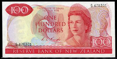 New Zealand currency 100 Dollars banknote Queen Elizabeth II