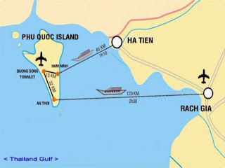 Map of Phu Quoc Island in Vietnam