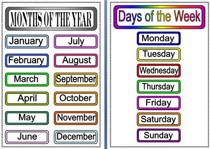 Days Weeks Months Of The Week Printable Worksheets Also Homophones ...