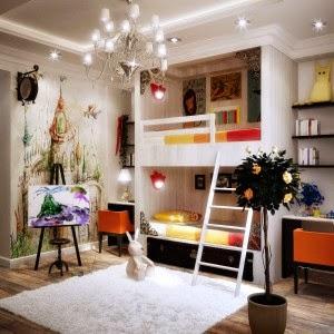 Modern A Bedroom Built Around a Lamp Design 300x300