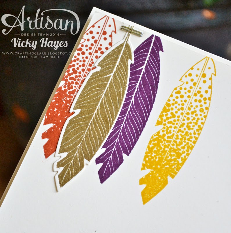 Gold embossed feather can be cut out with matching dies
