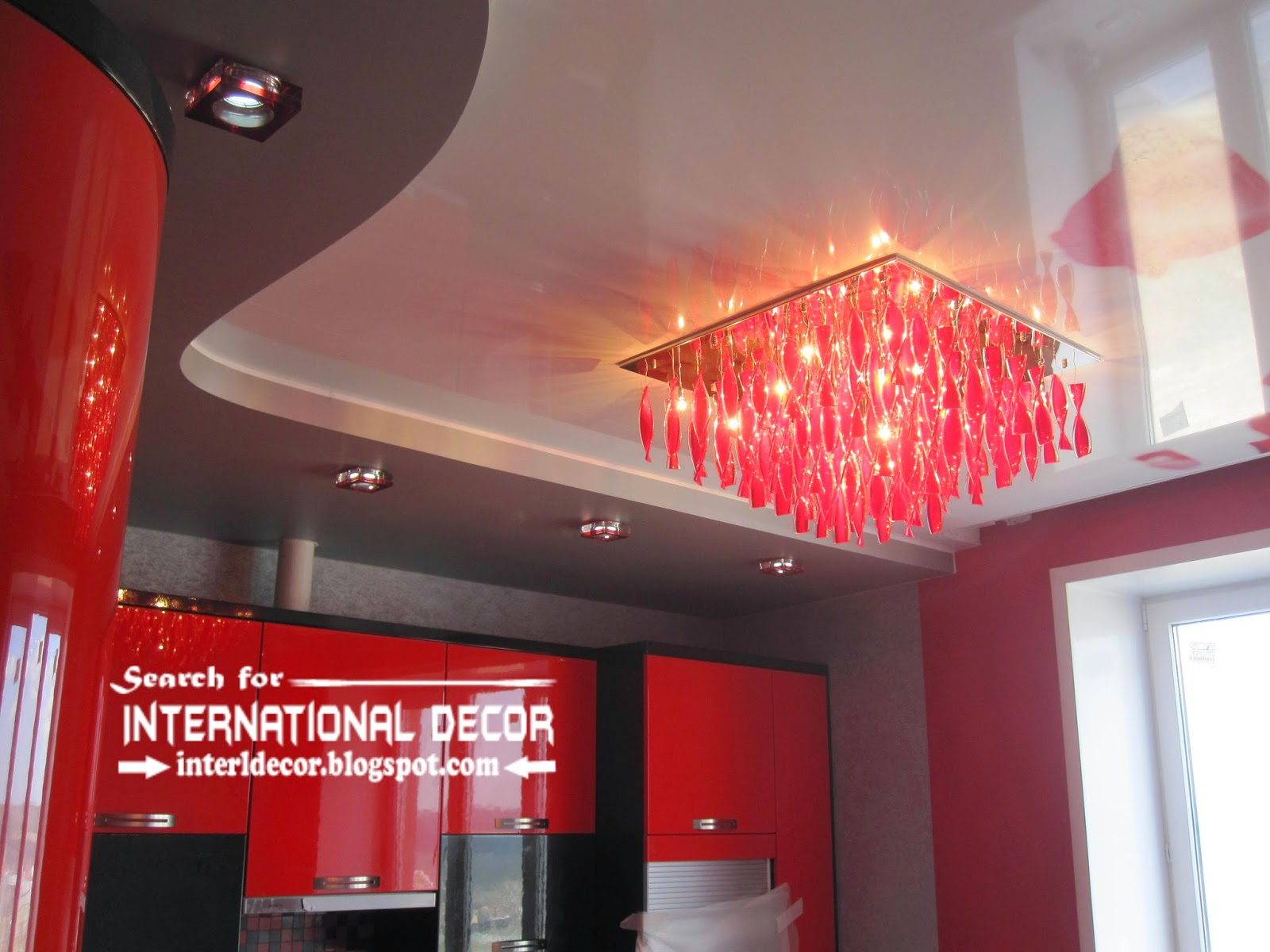 stretch ceilings for modern kitchen, two level stretch ceiling with modern chandelier