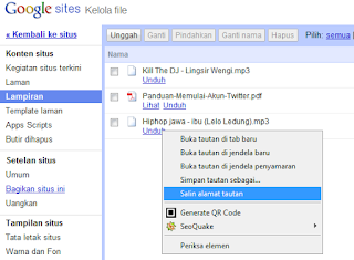 upload copy tautan url Google Site