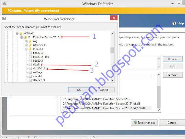Mengatasi rld.dll PES 2013 & 2012 terdeteksi virus oleh MSE/Windows Defender