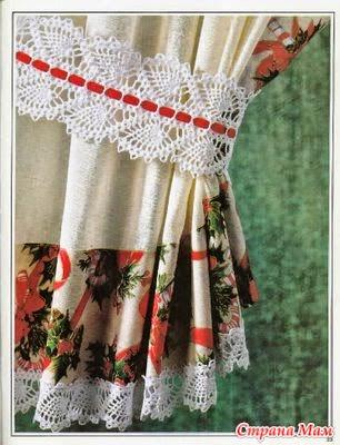 Puntilla para sujetar cortinas con patr n todo crochet - Puntillas para cortinas ...