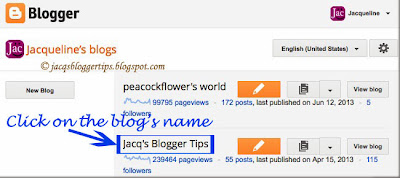 Screenshot showing the blog's dashboard