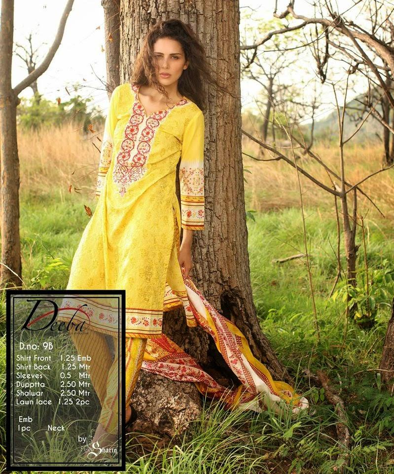 Deeba Premium Summer Lawn Women Dresses 2015 by Shariq Textiles