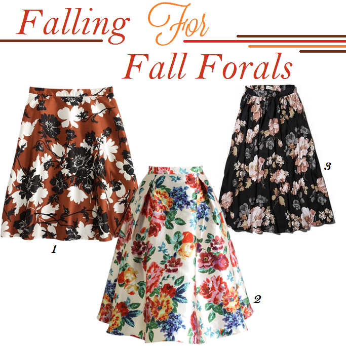 Fall 2014 Floral Trend, Floral Print Midi Skirts, Vintage style floral prints