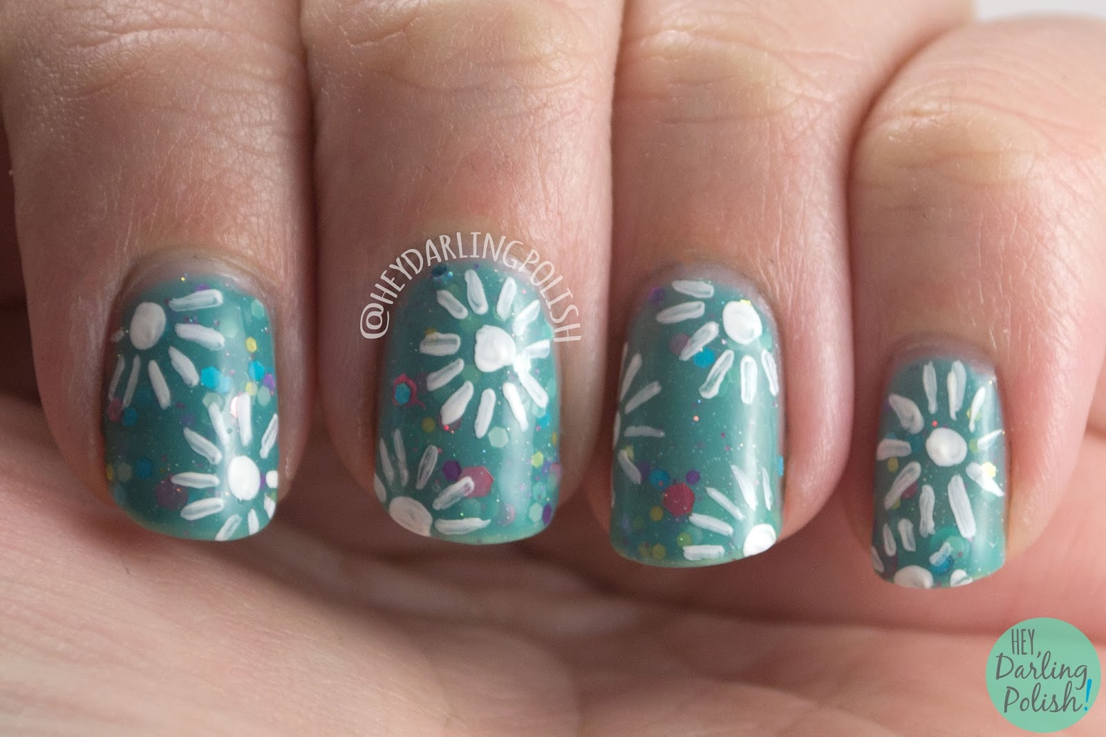 laugh myself lily, flowers, nail art, nails, nail polish, indie polish, kbshimmer, hey darling polish, glitter crelly, glitter,