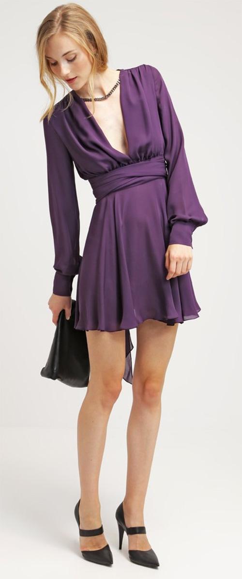 Robe courte de soirée en soie violette Plein sud