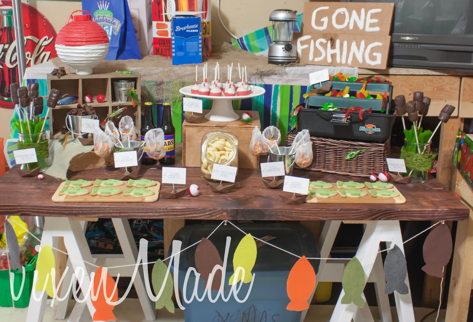 Vixenmade fishing themed party for Fish birthday party