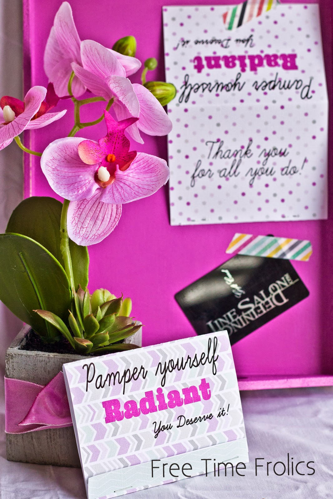 pamper yourself radiant gift card holder printable www.freetimefrolics.com