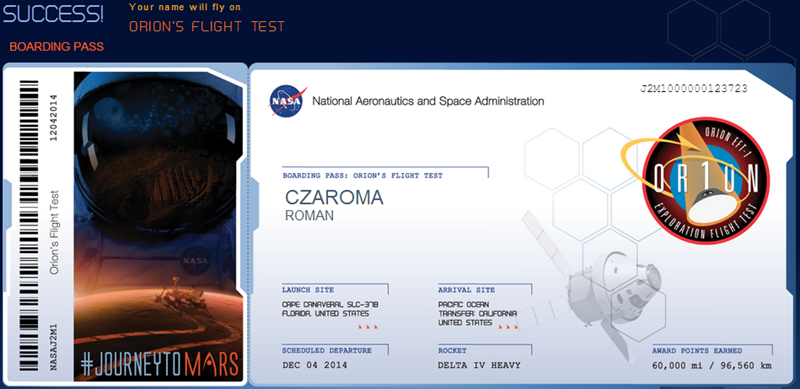 flight ticket, NASA, Journey to Mars, free, Orion spacecraft
