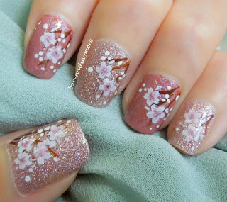 Cherry blossoms / sakura flowers on China Glaze Hello Gorgeous and Essence English Rose