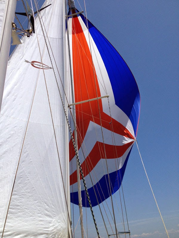 Ati's spinnaker flying