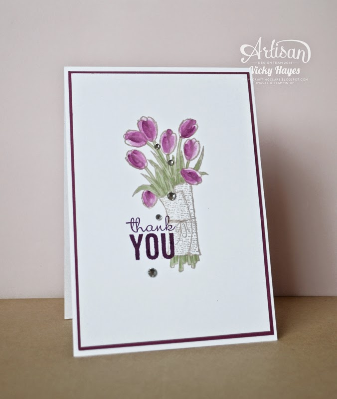 Create a simple Easter card using the Love is Kindness tulips from Stampin' Up