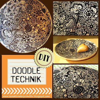 Doodle Technik Schale Vase DIY Idee DIY selber machen basteln anleitung tutorial kritzeln