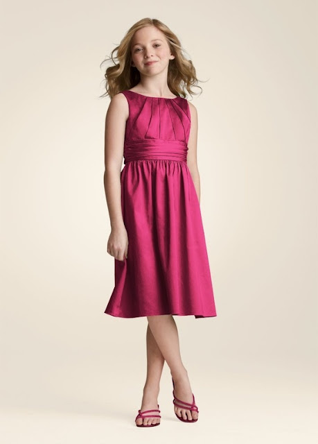 Flower Girl Dresses - David's Bridal Short Cotton Dress with Ruching Detail