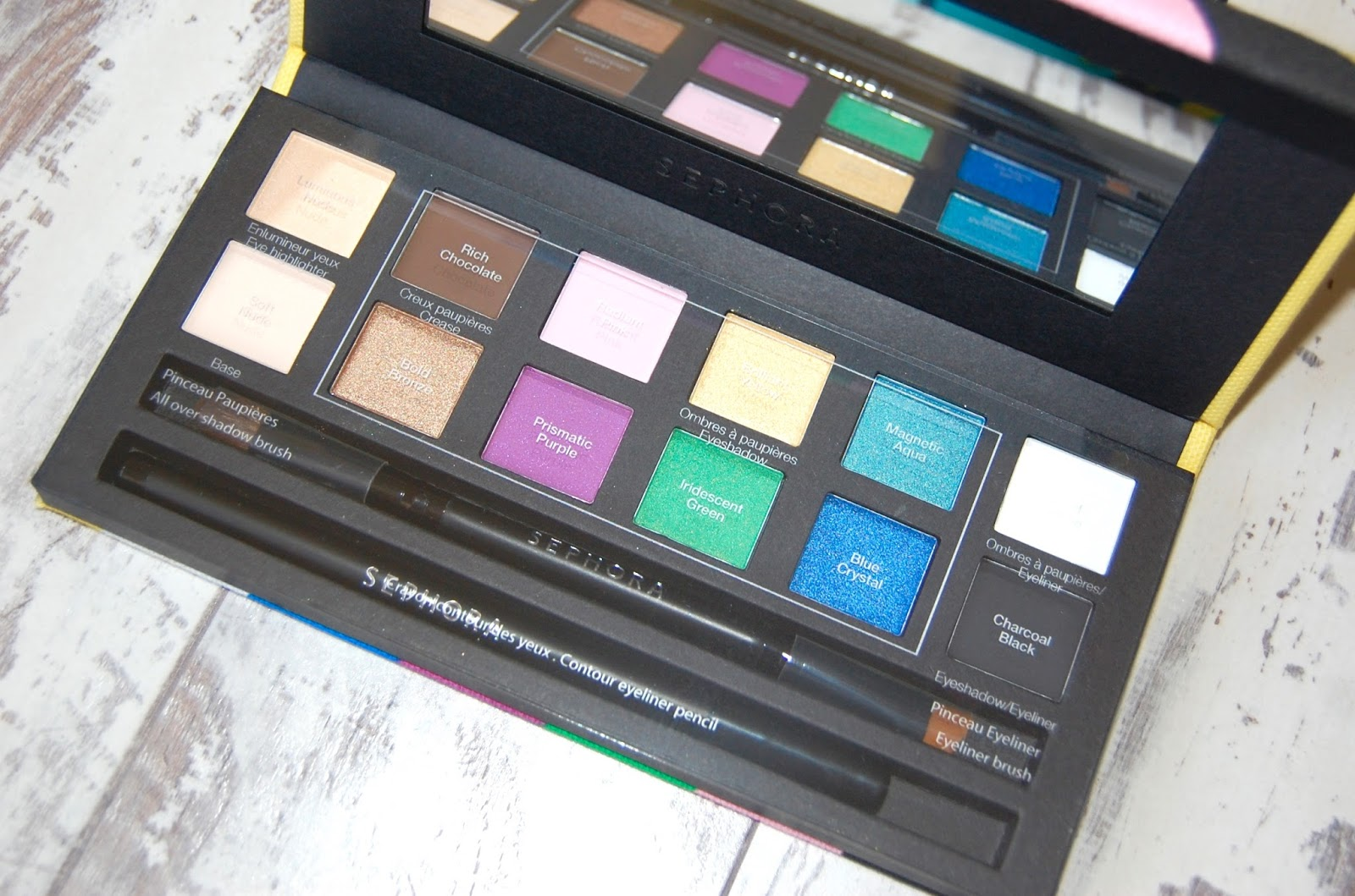 Sephora eyeshadow palette with bright coloured packaging and the same bright colours inside.