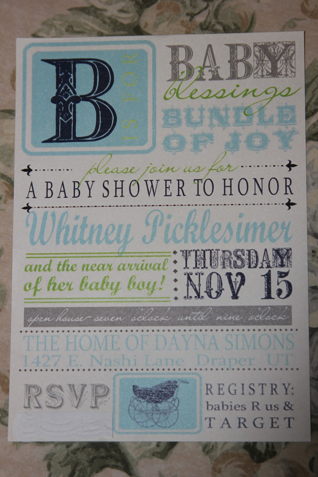 we stayed with a vintage baby theme in baby boy colors it was fun to