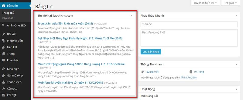 [WordPress] Thêm chức năng  hiển thị tin RSS tại dashboard